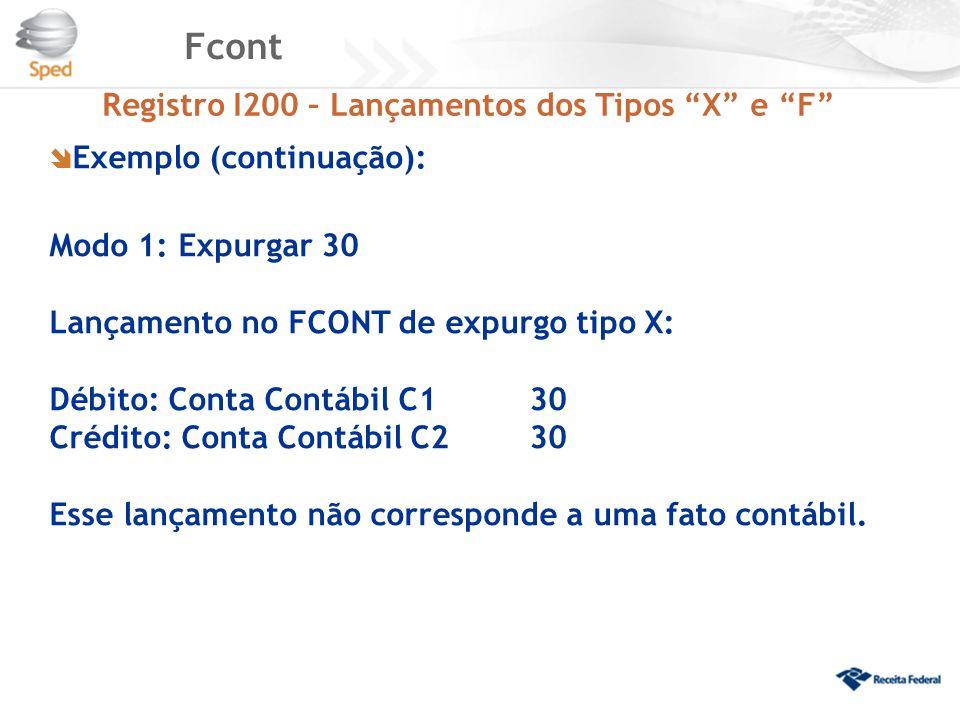 Fcont  Exemplo (continuação): Modo 1: Expurgar 30 Lançamento no FCONT de expurgo tipo X: Débito: Conta Contábil C130 Crédito: Conta Contábil C2 30 Es