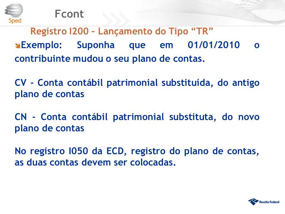 """Fcont Registro I200 – Lançamento do Tipo """"TR""""  Exemplo: Suponha que em 01/01/2010 o contribuinte mudou o seu plano de contas. CV - Conta contábil pat"""