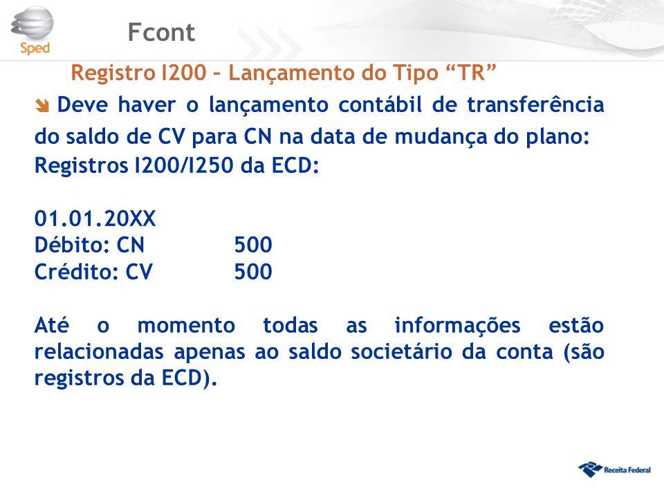 """Fcont Registro I200 – Lançamento do Tipo """"TR""""  Deve haver o lançamento contábil de transferência do saldo de CV para CN na data de mudança do plano:"""