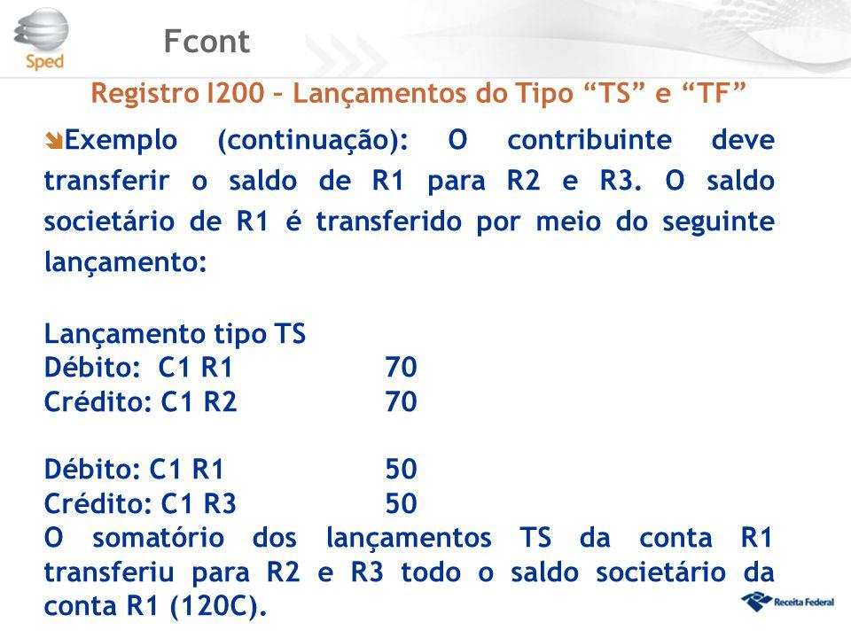 """Fcont Registro I200 – Lançamentos do Tipo """"TS"""" e """"TF""""  Exemplo (continuação): O contribuinte deve transferir o saldo de R1 para R2 e R3. O saldo soci"""