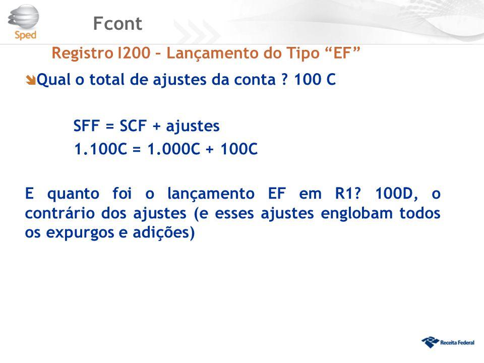 """Fcont Registro I200 – Lançamento do Tipo """"EF""""  Qual o total de ajustes da conta ? 100 C SFF = SCF + ajustes 1.100C = 1.000C + 100C E quanto foi o lan"""