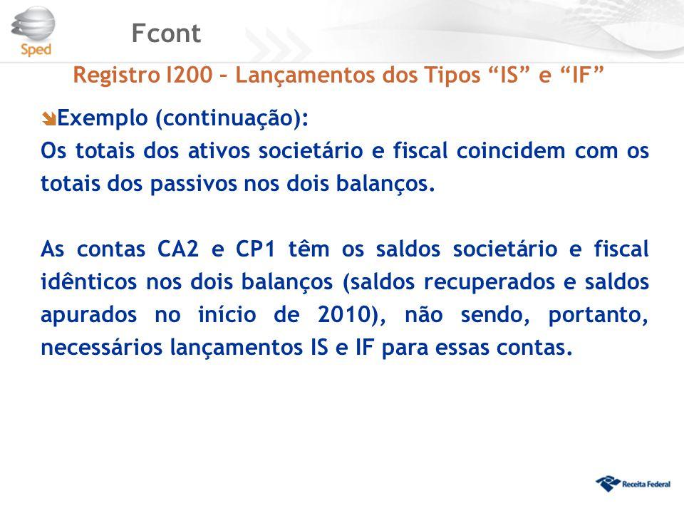 """Fcont Registro I200 – Lançamentos dos Tipos """"IS"""" e """"IF""""  Exemplo (continuação): Os totais dos ativos societário e fiscal coincidem com os totais dos"""