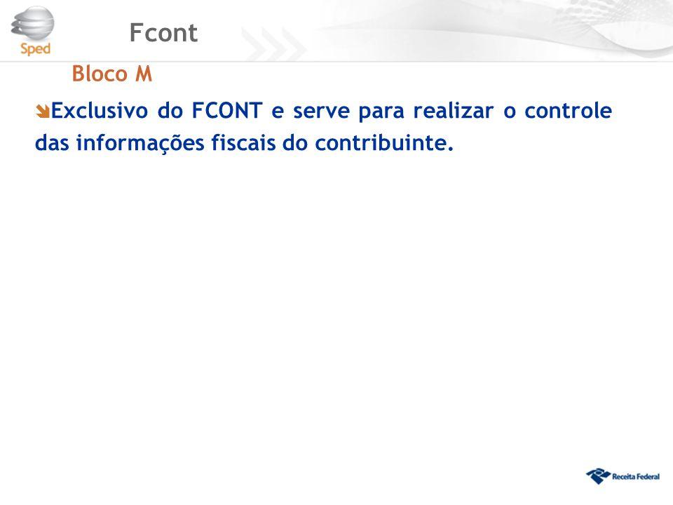 Fcont Bloco M  Exclusivo do FCONT e serve para realizar o controle das informações fiscais do contribuinte.