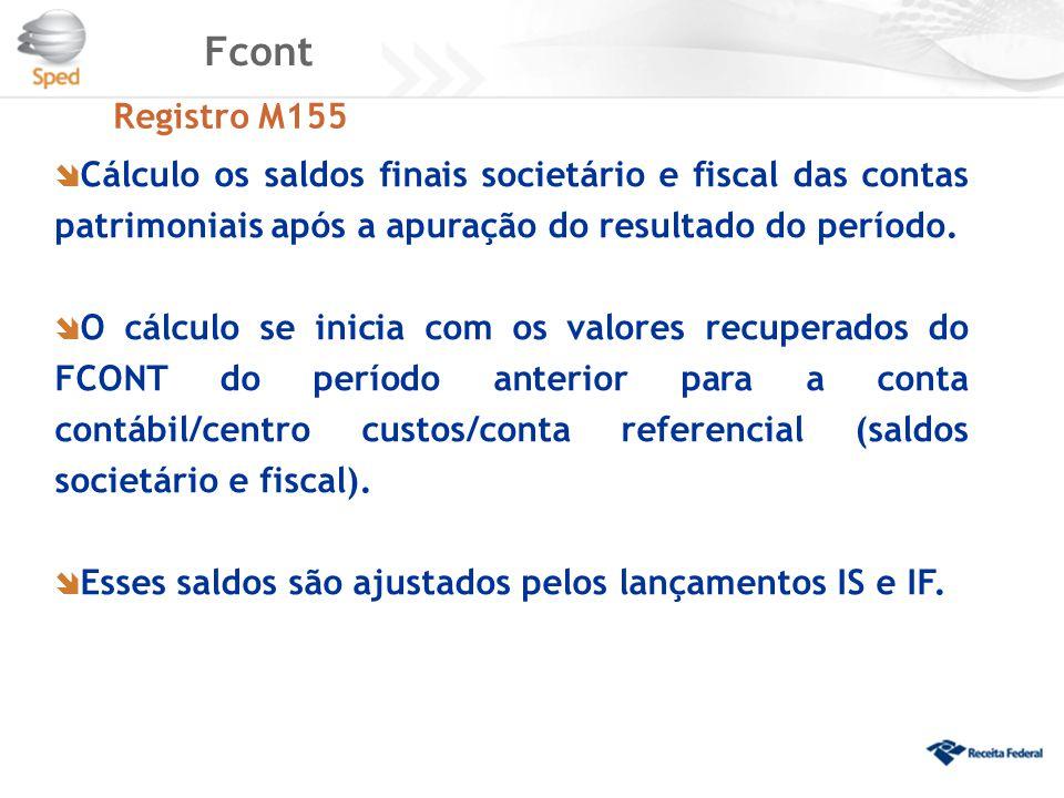 Fcont Registro M155  Cálculo os saldos finais societário e fiscal das contas patrimoniais após a apuração do resultado do período.  O cálculo se ini