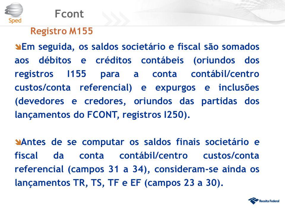 Fcont Registro M155  Em seguida, os saldos societário e fiscal são somados aos débitos e créditos contábeis (oriundos dos registros I155 para a conta