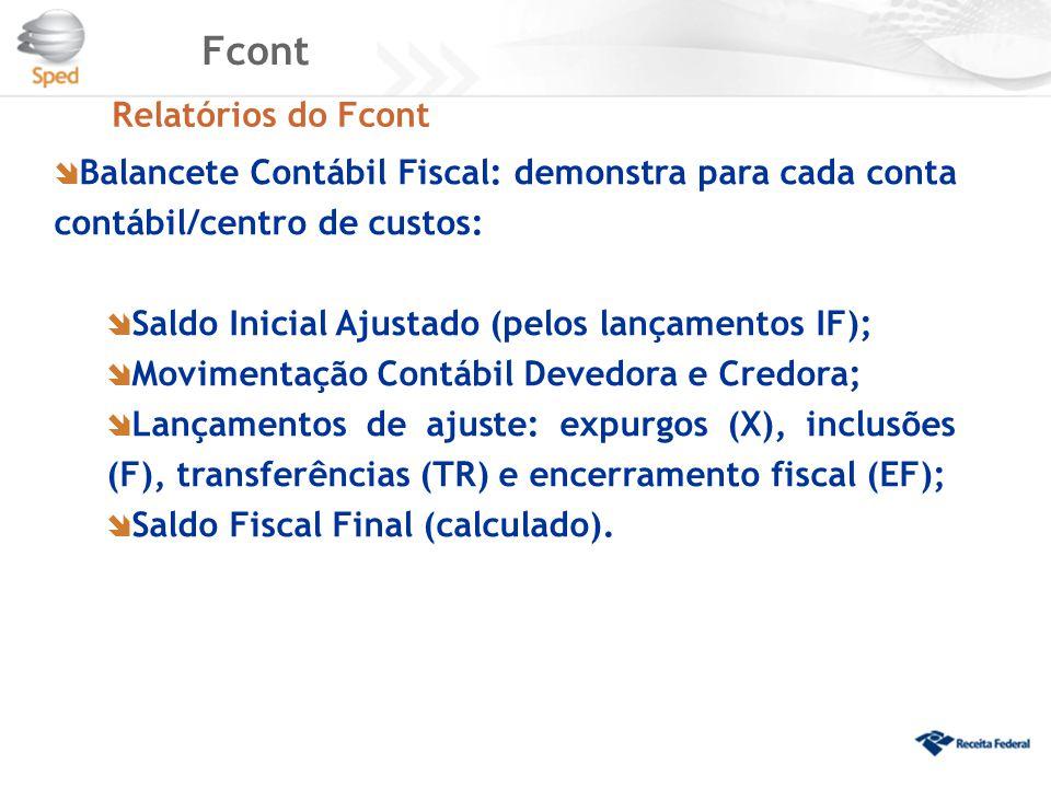 Fcont Relatórios do Fcont  Balancete Contábil Fiscal: demonstra para cada conta contábil/centro de custos:  Saldo Inicial Ajustado (pelos lançamento