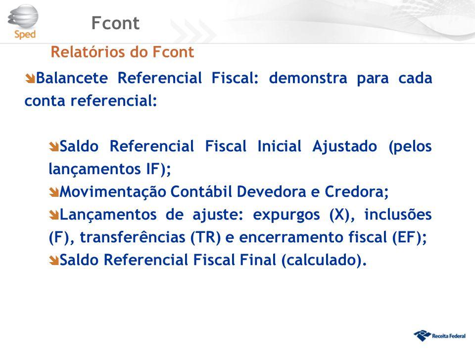 Fcont Relatórios do Fcont  Balancete Referencial Fiscal: demonstra para cada conta referencial:  Saldo Referencial Fiscal Inicial Ajustado (pelos la