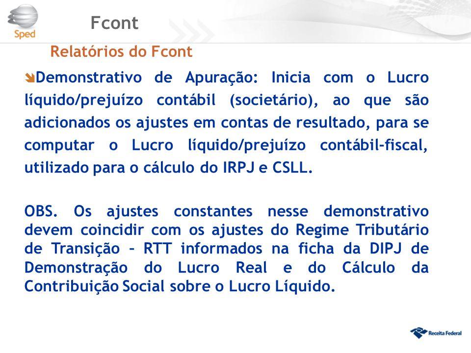 Fcont Relatórios do Fcont  Demonstrativo de Apuração: Inicia com o Lucro líquido/prejuízo contábil (societário), ao que são adicionados os ajustes em