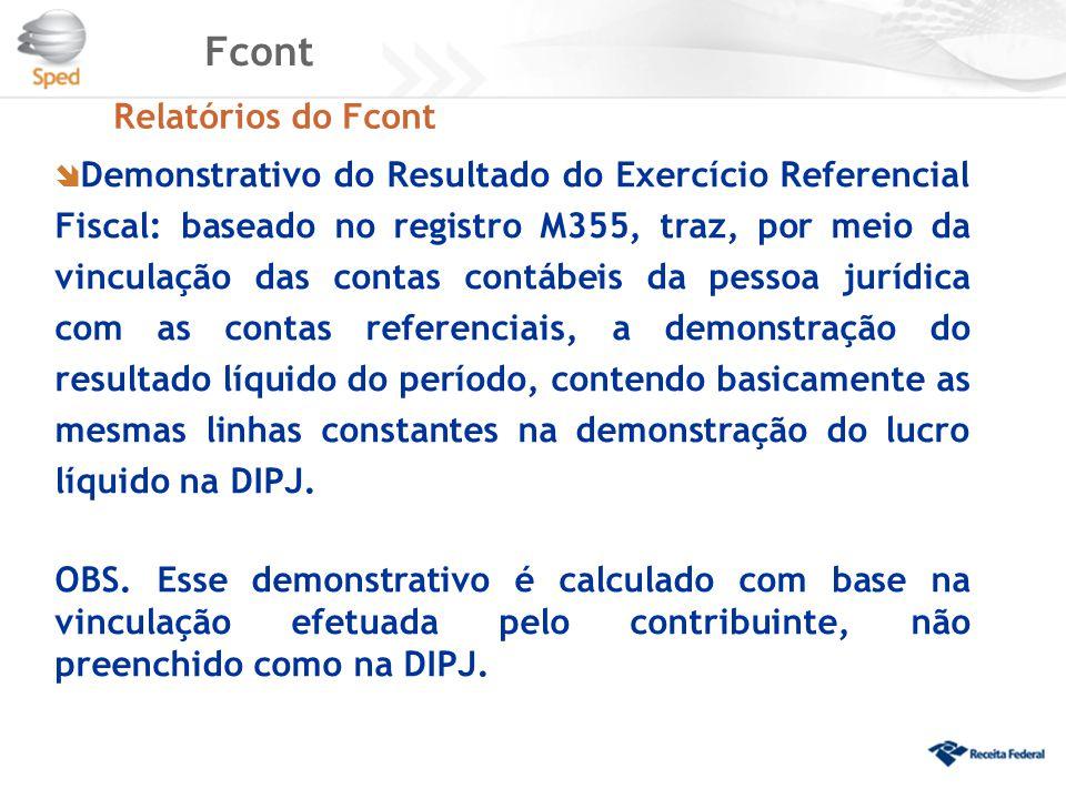 Fcont Relatórios do Fcont  Demonstrativo do Resultado do Exercício Referencial Fiscal: baseado no registro M355, traz, por meio da vinculação das con