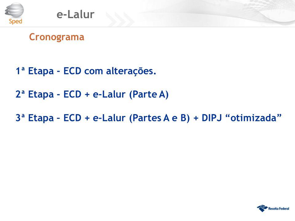 "e-Lalur 1ª Etapa - ECD com alterações. 2ª Etapa - ECD + e-Lalur (Parte A) 3ª Etapa – ECD + e-Lalur (Partes A e B) + DIPJ ""otimizada"" Cronograma"