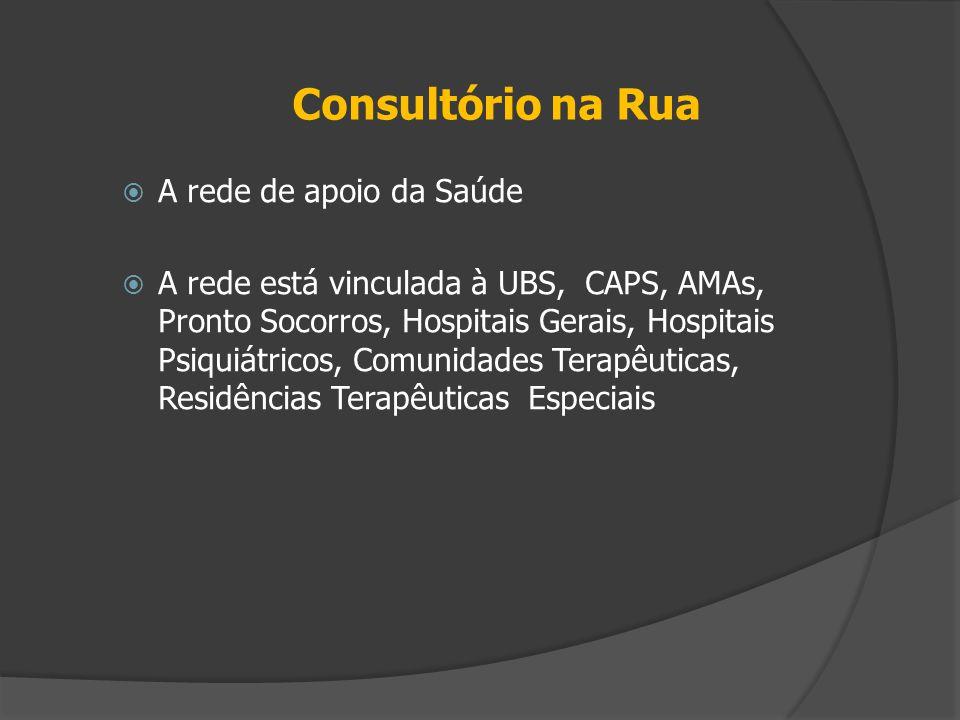 Consultório na Rua  A rede de apoio da Saúde  A rede está vinculada à UBS, CAPS, AMAs, Pronto Socorros, Hospitais Gerais, Hospitais Psiquiátricos, C