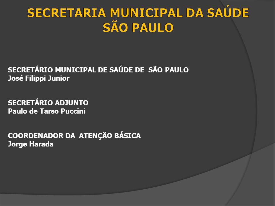 SECRETÁRIO MUNICIPAL DE SAÚDE DE SÃO PAULO José Filippi Junior SECRETÁRIO ADJUNTO Paulo de Tarso Puccini COORDENADOR DA ATENÇÃO BÁSICA Jorge Harada