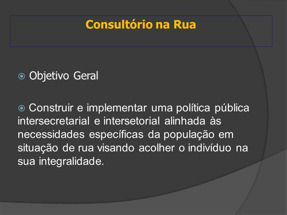 Consultório na Rua  Objetivo Geral  Construir e implementar uma política pública intersecretarial e intersetorial alinhada às necessidades específic