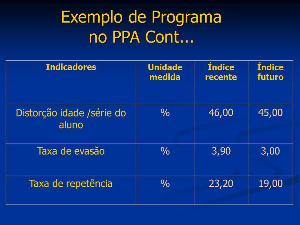 Exemplo de Programa no PPA Cont... IndicadoresUnidade medida Índice recente Índice futuro Distorção idade /série do aluno %46,0045,00 Taxa de evasão%3