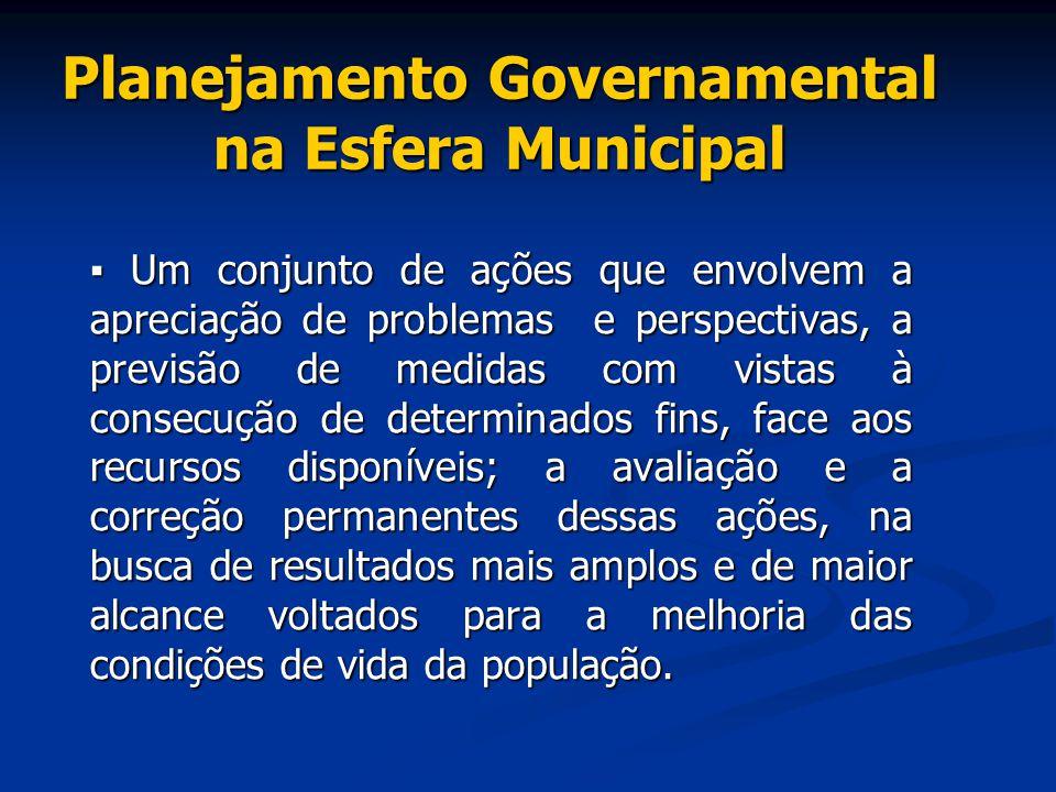 Planejamento Governamental na Esfera Municipal ▪ Um conjunto de ações que envolvem a apreciação de problemas e perspectivas, a previsão de medidas com