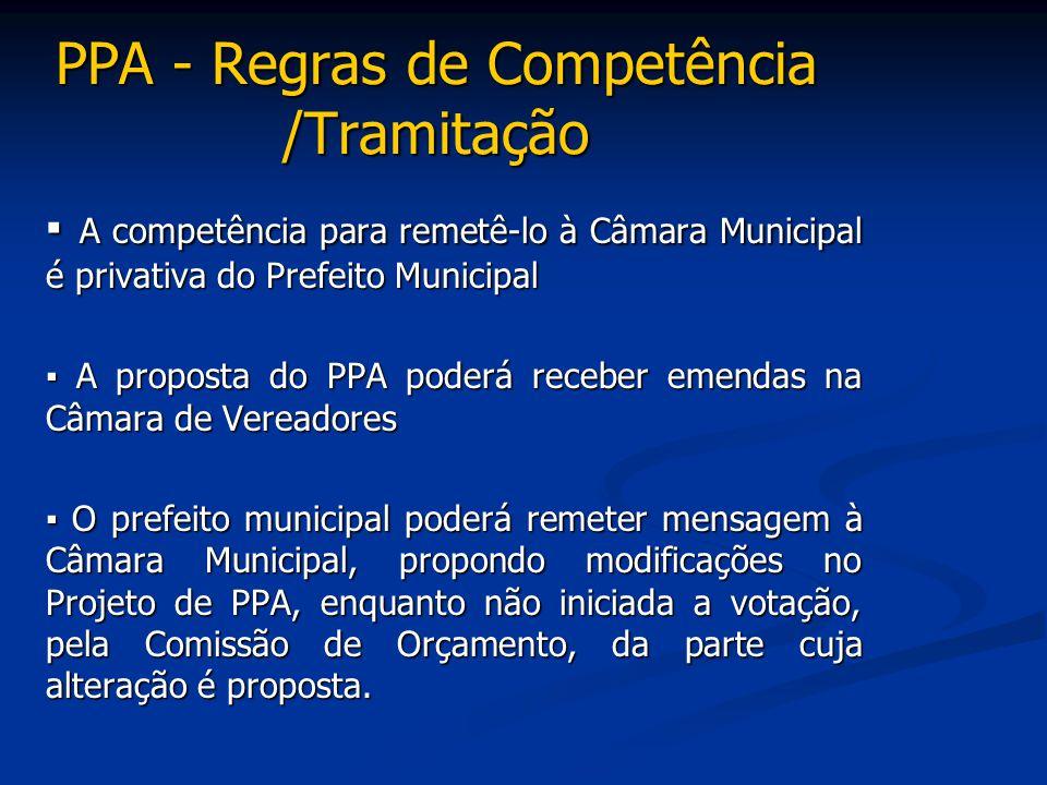 PPA - Regras de Competência /Tramitação ▪ A competência para remetê-lo à Câmara Municipal é privativa do Prefeito Municipal ▪ A proposta do PPA poderá