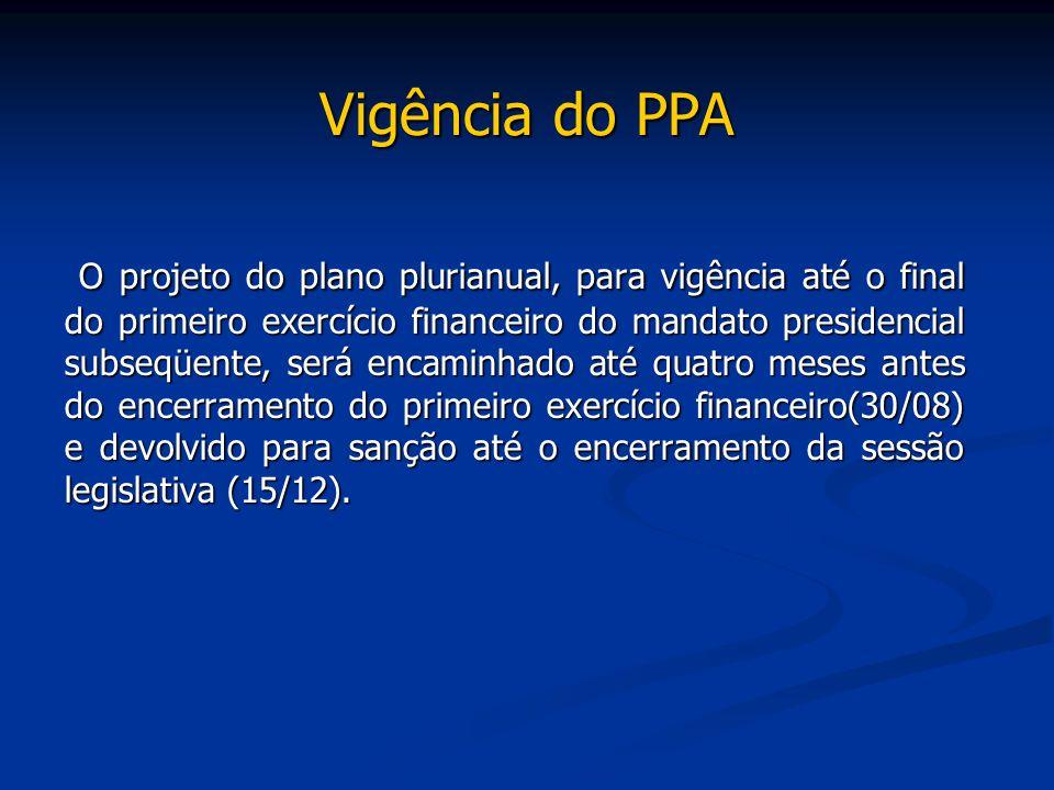 Vigência do PPA O projeto do plano plurianual, para vigência até o final do primeiro exercício financeiro do mandato presidencial subseqüente, será en