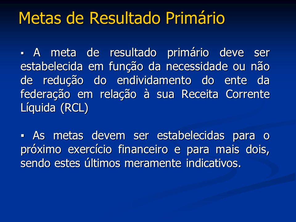 Metas de Resultado Primário ▪ A meta de resultado primário deve ser estabelecida em função da necessidade ou não de redução do endividamento do ente d