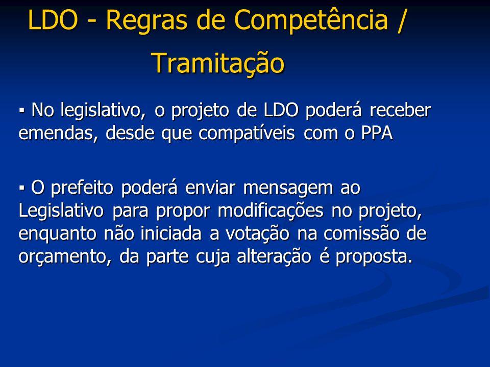 ▪ No legislativo, o projeto de LDO poderá receber emendas, desde que compatíveis com o PPA ▪ O prefeito poderá enviar mensagem ao Legislativo para pro