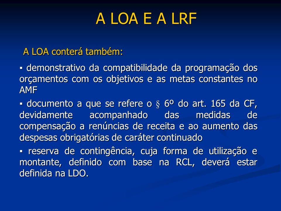 A LOA E A LRF A LOA conterá também: A LOA conterá também: ▪ demonstrativo da compatibilidade da programação dos orçamentos com os objetivos e as metas