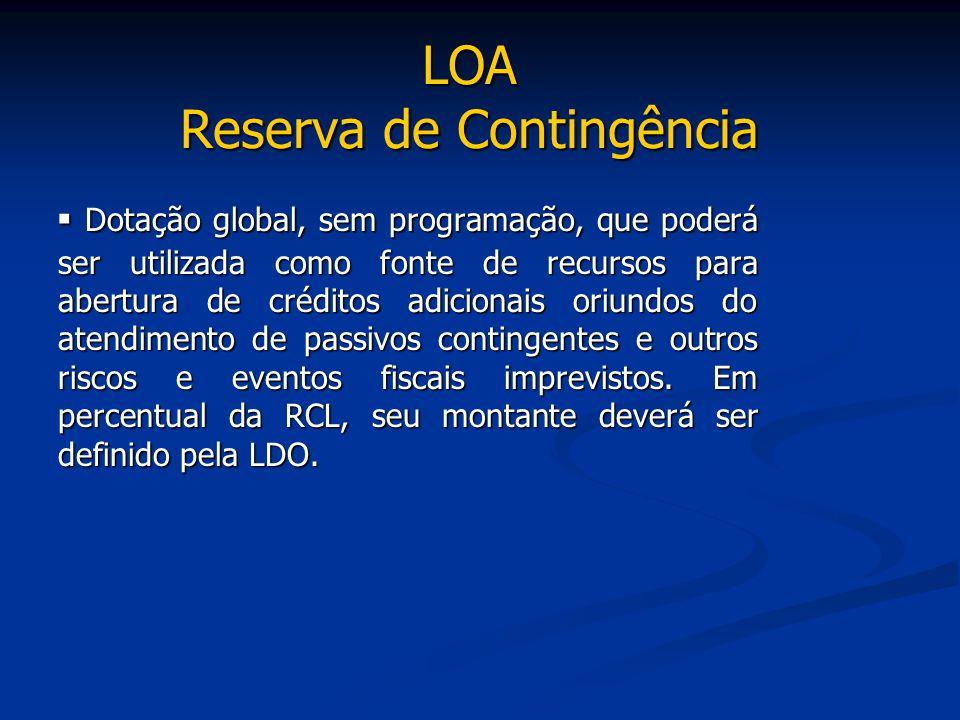 LOA Reserva de Contingência ▪ Dotação global, sem programação, que poderá ser utilizada como fonte de recursos para abertura de créditos adicionais or