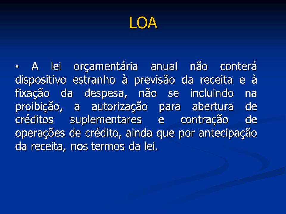 LOA ▪ A lei orçamentária anual não conterá dispositivo estranho à previsão da receita e à fixação da despesa, não se incluindo na proibição, a autoriz