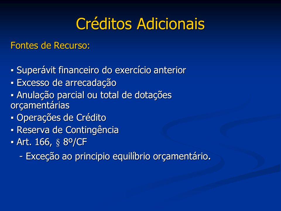 Créditos Adicionais Fontes de Recurso: ▪ Superávit financeiro do exercício anterior ▪ Excesso de arrecadação ▪ Anulação parcial ou total de dotações o