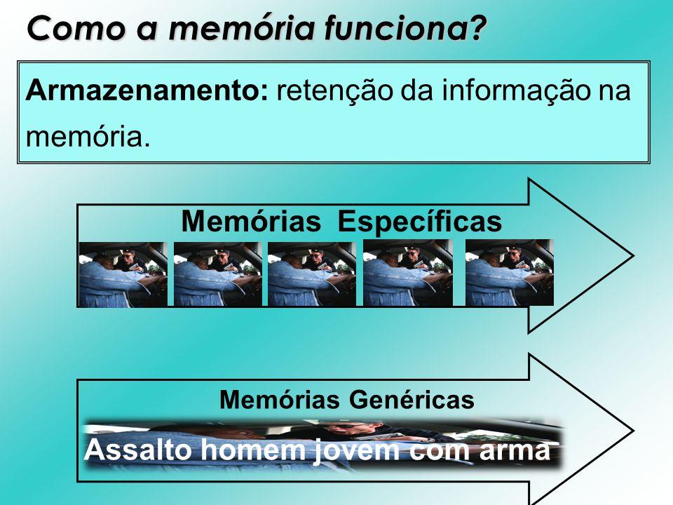 Armazenamento: retenção da informação na memória. Memórias Específicas Memórias Genéricas Assalto homem jovem com arma