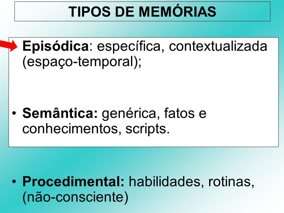 TIPOS DE MEMÓRIAS Episódica: específica, contextualizada (espaço-temporal); Semântica: genérica, fatos e conhecimentos, scripts. Procedimental: habili