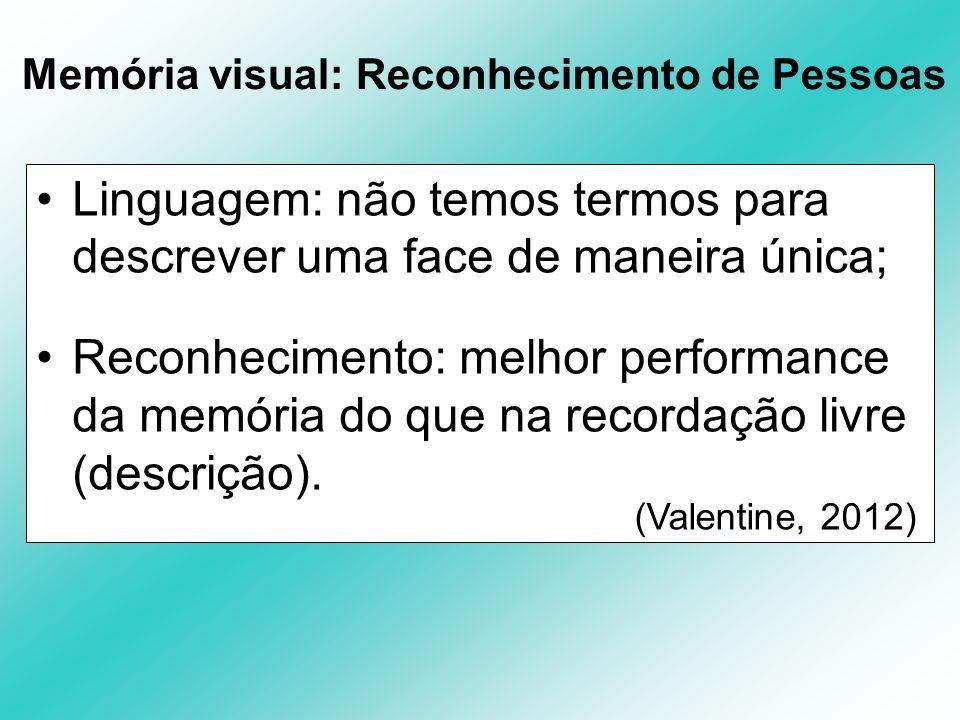 Memória visual: Reconhecimento de Pessoas Linguagem: não temos termos para descrever uma face de maneira única; Reconhecimento: melhor performance da