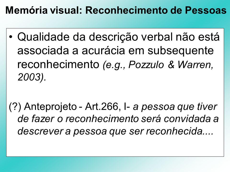 Memória visual: Reconhecimento de Pessoas Qualidade da descrição verbal não está associada a acurácia em subsequente reconhecimento (e.g., Pozzulo & W