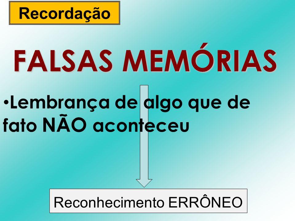 FALSAS MEMÓRIAS Lembrança de algo que de fato NÃO aconteceu Recordação Reconhecimento ERRÔNEO