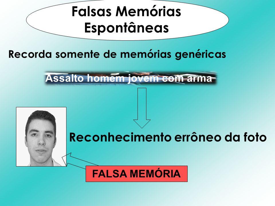 Recorda somente de memórias genéricas Falsas Memórias Espontâneas Assalto homem jovem com arma Reconhecimento errôneo da foto FALSA MEMÓRIA
