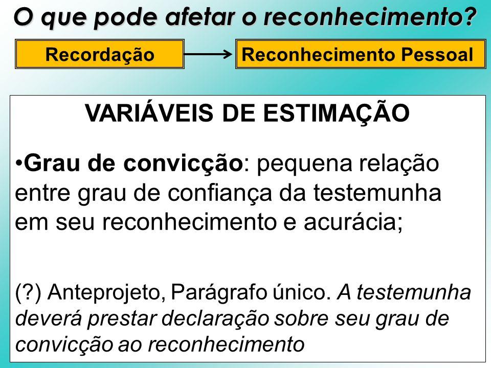 VARIÁVEIS DE ESTIMAÇÃO Grau de convicção: pequena relação entre grau de confiança da testemunha em seu reconhecimento e acurácia; (?) Anteprojeto, Par
