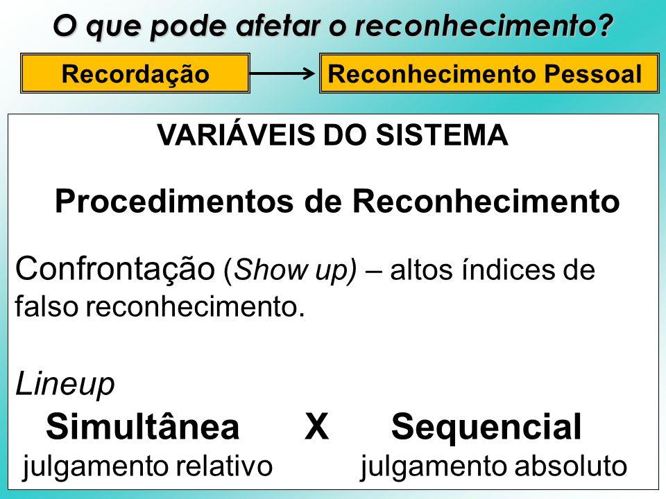 VARIÁVEIS DO SISTEMA Procedimentos de Reconhecimento Confrontação (Show up) – altos índices de falso reconhecimento. Lineup Simultânea X Sequencial ju