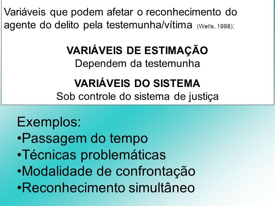 Variáveis que podem afetar o reconhecimento do agente do delito pela testemunha/vítima (Wells, 1998) : VARIÁVEIS DE ESTIMAÇÃO Dependem da testemunha V