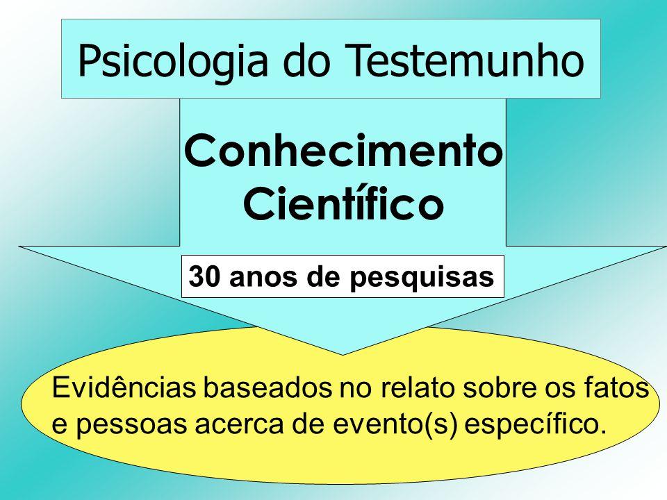 Conhecimento Científico Psicologia do Testemunho Evidências baseados no relato sobre os fatos e pessoas acerca de evento(s) específico. 30 anos de pes
