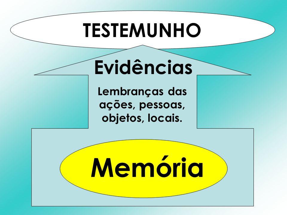 TESTEMUNHO Lembranças das ações, pessoas, objetos, locais. Evidências Memória