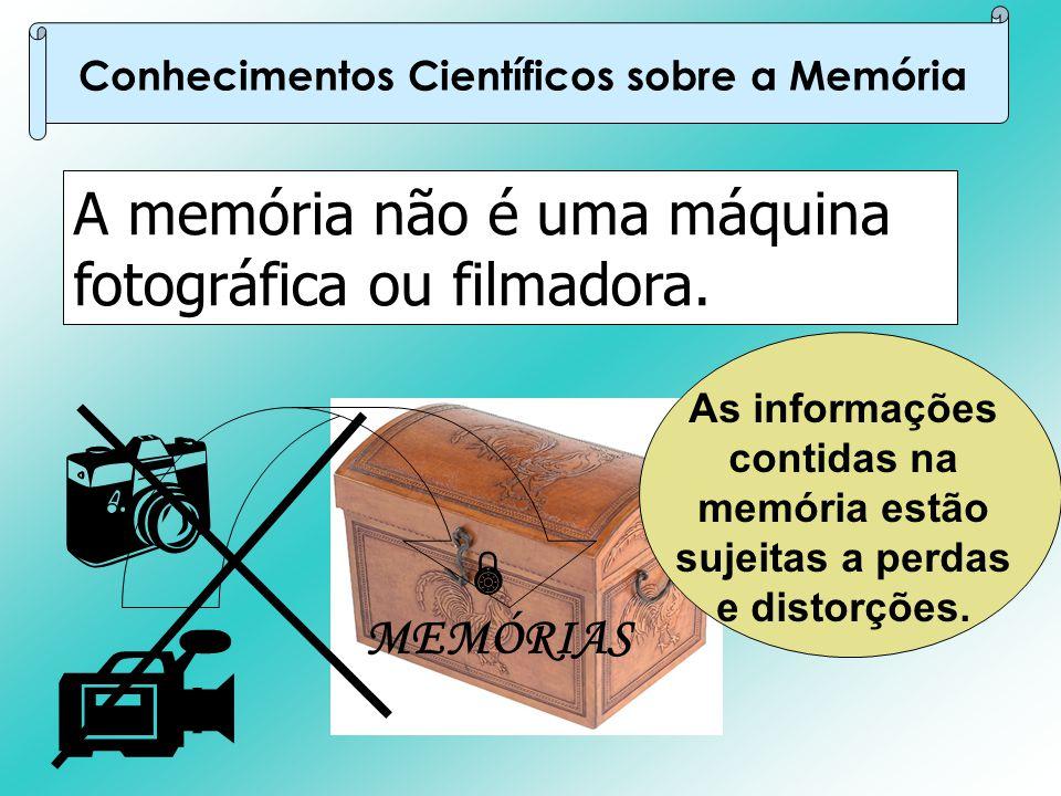 A memória não é uma máquina fotográfica ou filmadora. Conhecimentos Científicos sobre a Memória   MEMÓRIAS  As informações contidas na memória estã