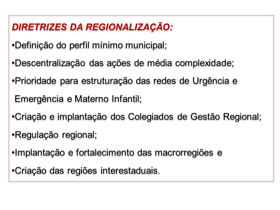 DIRETRIZES DA REGIONALIZAÇÃO: Definição do perfil mínimo municipal; Descentralização das ações de média complexidade; Prioridade para estruturação das