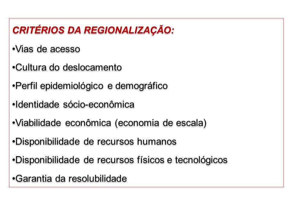 CRITÉRIOS DA REGIONALIZAÇÃO: Vias de acesso Cultura do deslocamento Perfil epidemiológico e demográfico Identidade sócio-econômica Viabilidade econômi