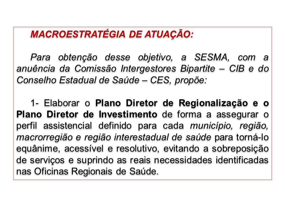 MACROESTRATÉGIA DE ATUAÇÃO: Para obtenção desse objetivo, a SESMA, com a anuência da Comissão Intergestores Bipartite – CIB e do Conselho Estadual de