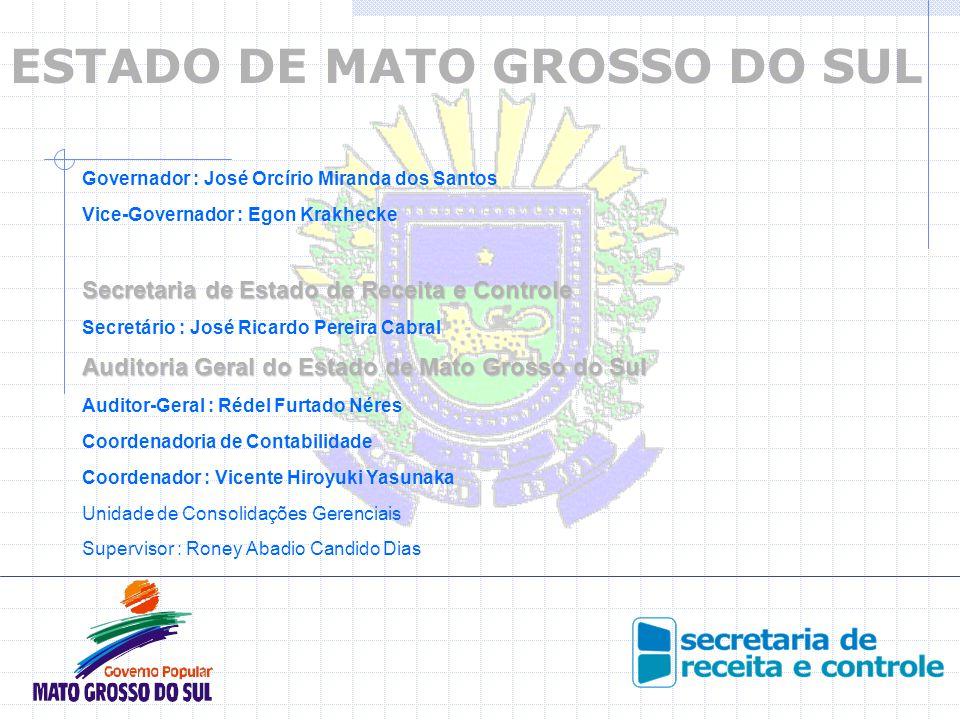 ESTADO DE MATO GROSSO DO SUL Governador : José Orcírio Miranda dos Santos Vice-Governador : Egon Krakhecke Secretaria de Estado de Receita e Controle