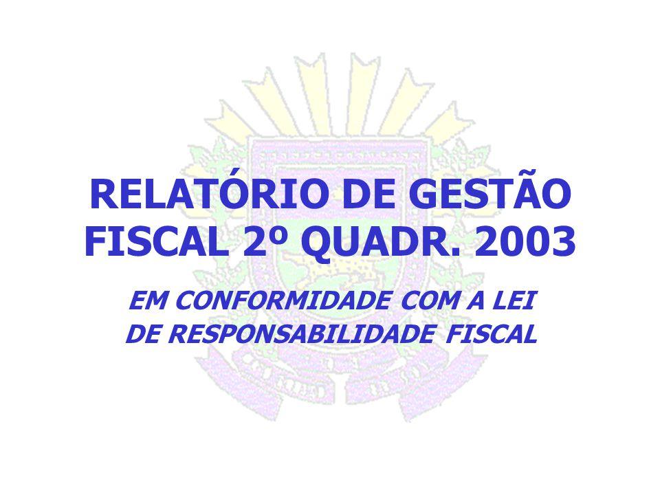 RELATÓRIO DE GESTÃO FISCAL 2º QUADR. 2003 EM CONFORMIDADE COM A LEI DE RESPONSABILIDADE FISCAL