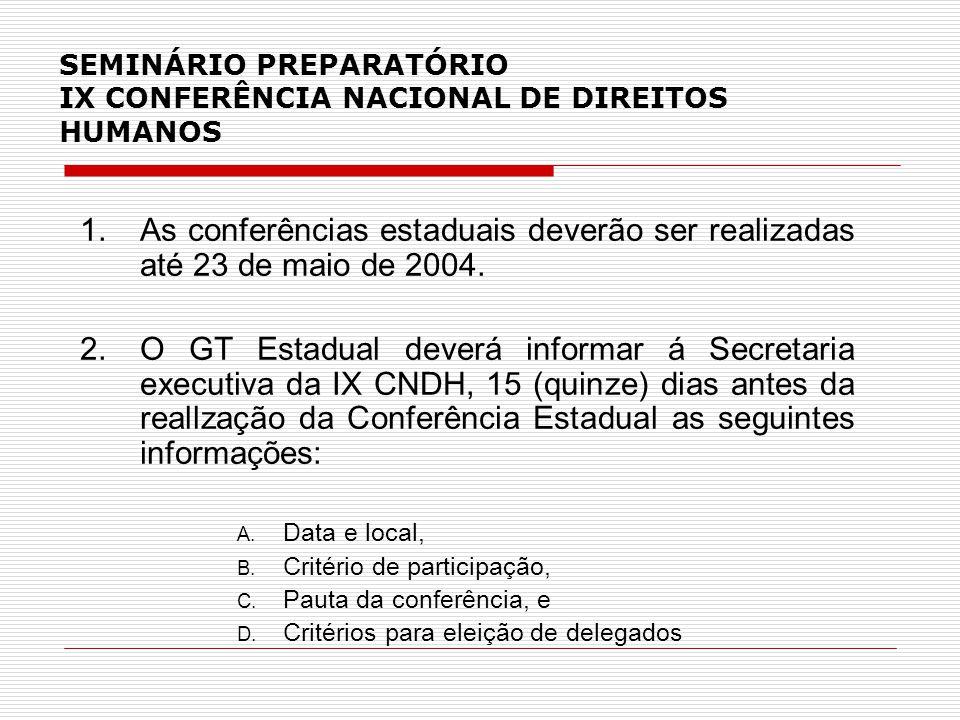 SEMINÁRIO PREPARATÓRIO IX CONFERÊNCIA NACIONAL DE DIREITOS HUMANOS 1.As conferências estaduais deverão ser realizadas até 23 de maio de 2004.
