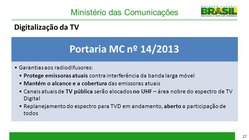 Ministério das Comunicações Portaria MC nº 14/2013 Garantias aos radiodifusores: Protege emissoras atuais contra interferência da banda larga móvel Ma