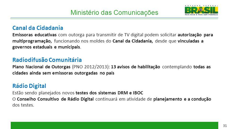 Ministério das Comunicações Canal da Cidadania Emissoras educativas com outorga para transmitir de TV digital podem solicitar autorização para multipr