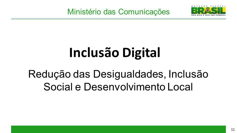 Ministério das Comunicações Inclusão Digital Redução das Desigualdades, Inclusão Social e Desenvolvimento Local 32