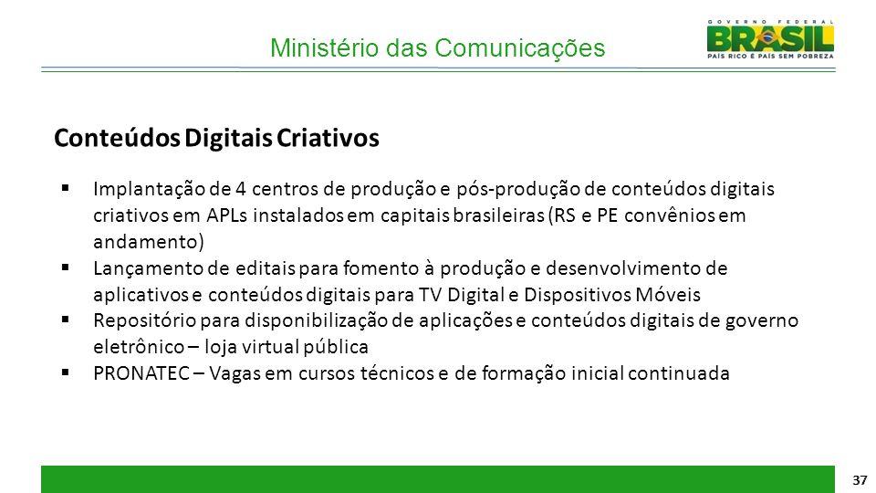Ministério das Comunicações 37 Conteúdos Digitais Criativos  Implantação de 4 centros de produção e pós-produção de conteúdos digitais criativos em A