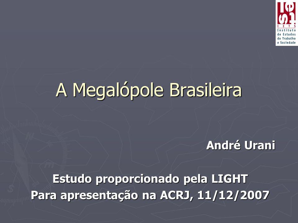 A Megalópole Brasileira André Urani Estudo proporcionado pela LIGHT Para apresentação na ACRJ, 11/12/2007